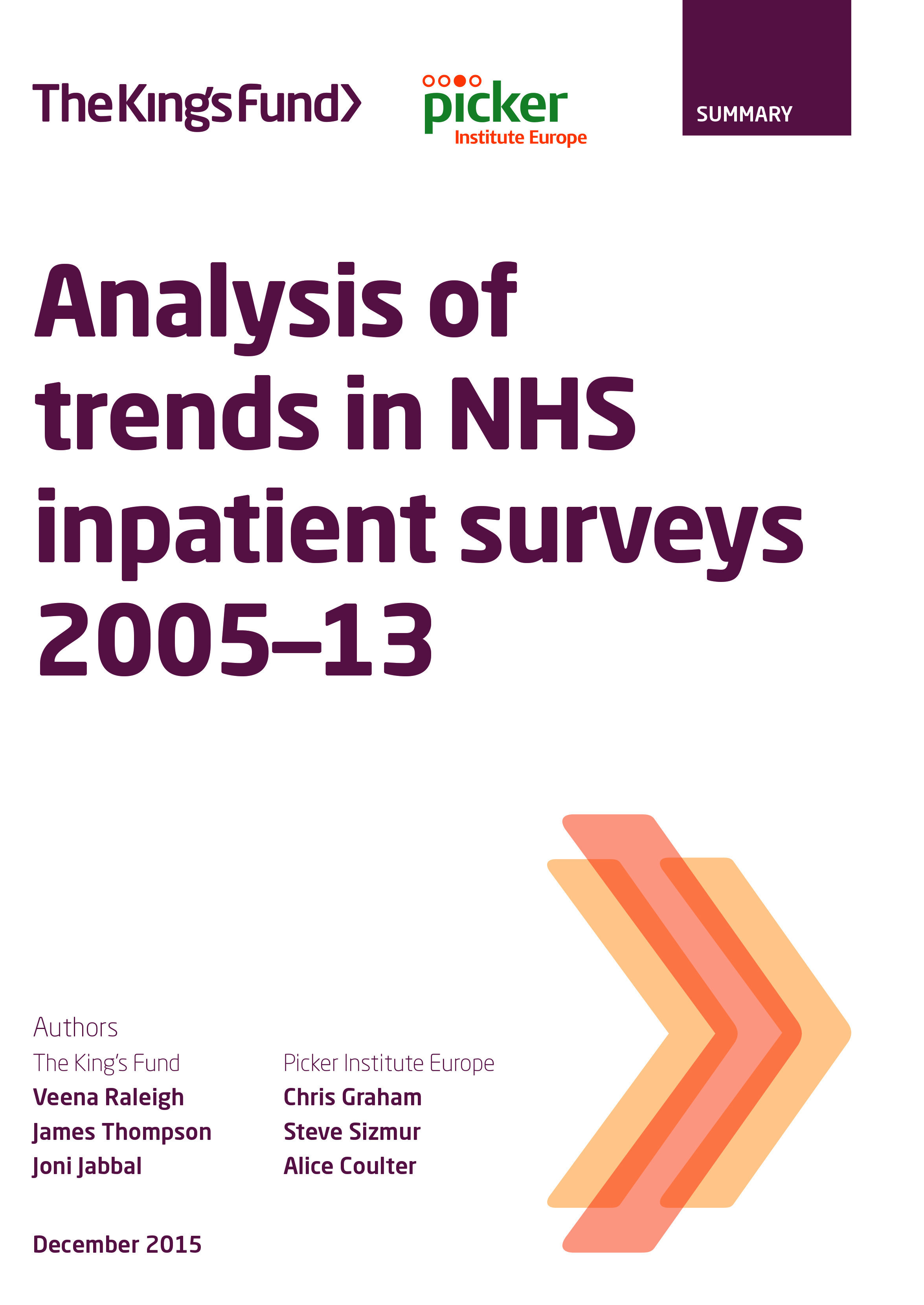 Analysis of trends in NHS inpatient surveys