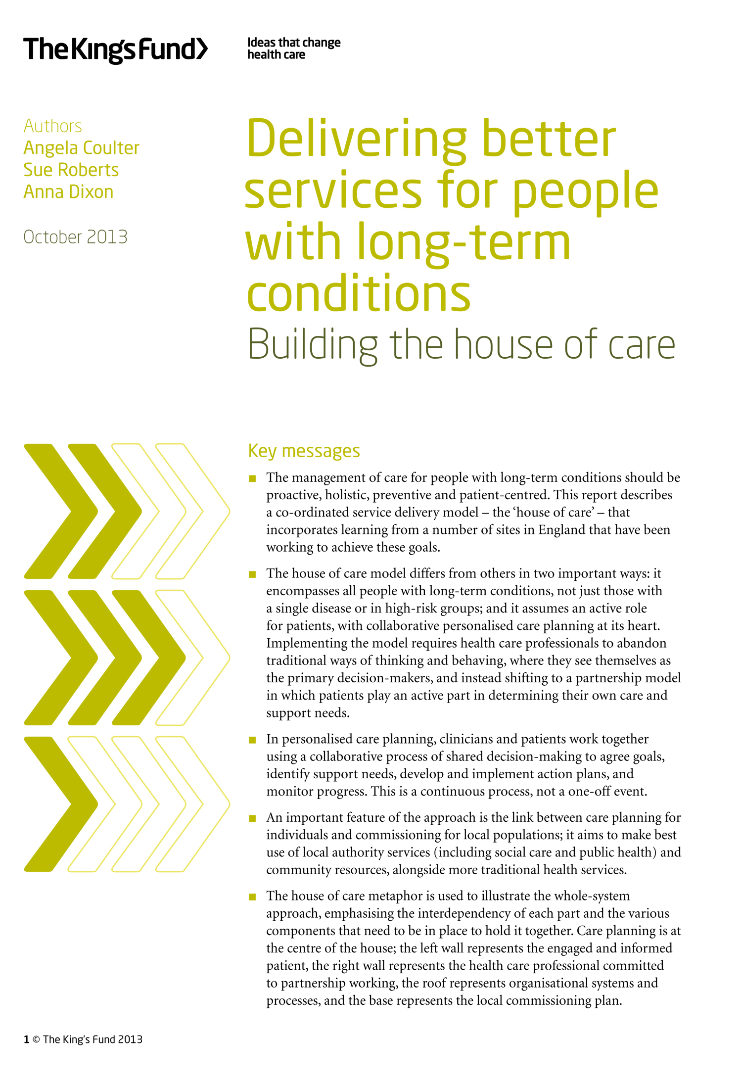 delivering better services for people long term conditions delivering better services for people long term conditions the king s fund