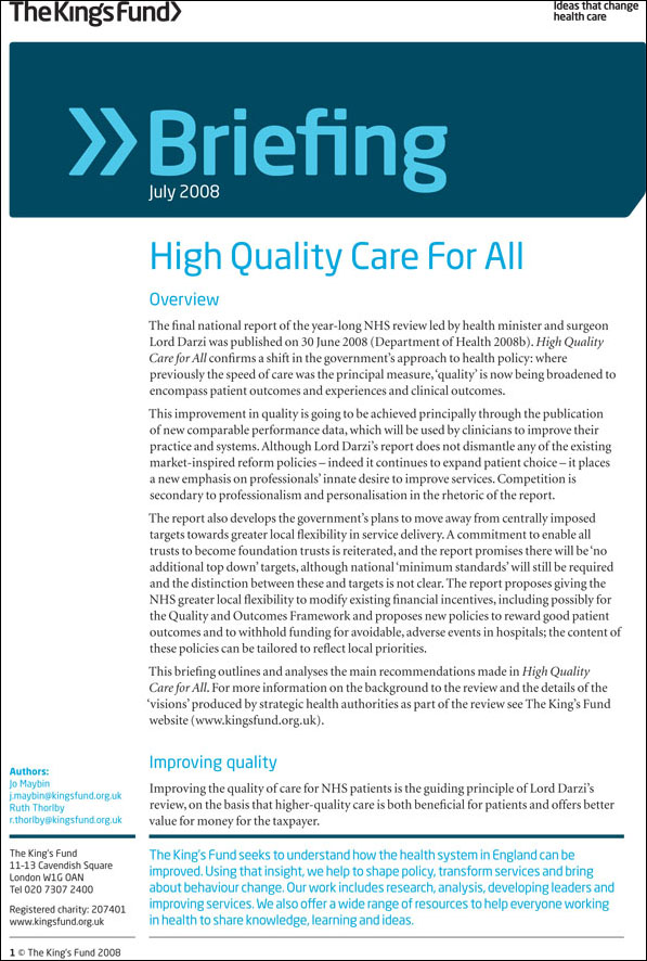 briefing  high quality care for all  the nhs next stage