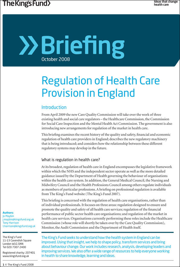 Regulation of Health Care Provision in England | The King ...