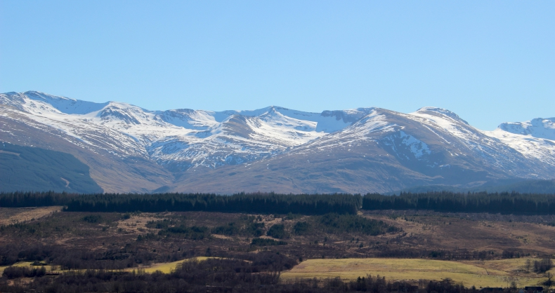 A view of mountains in the Scottish Highlands