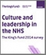 Culture and leadership in the NHS survey front cover