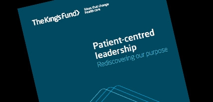Patient-centred leadership front cover homepage
