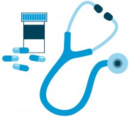 Medicine bottle and stethascope