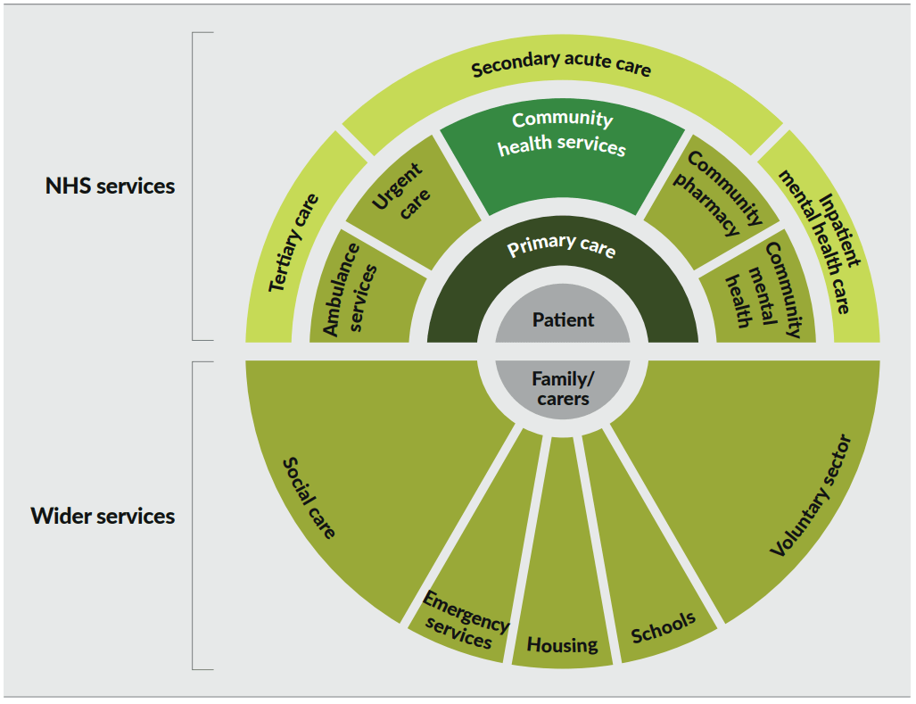 Chart illustrating the NHS and wider services that all support health and care. The NHS services include primary care, community health services, hospital services, community pharmacies and community health services