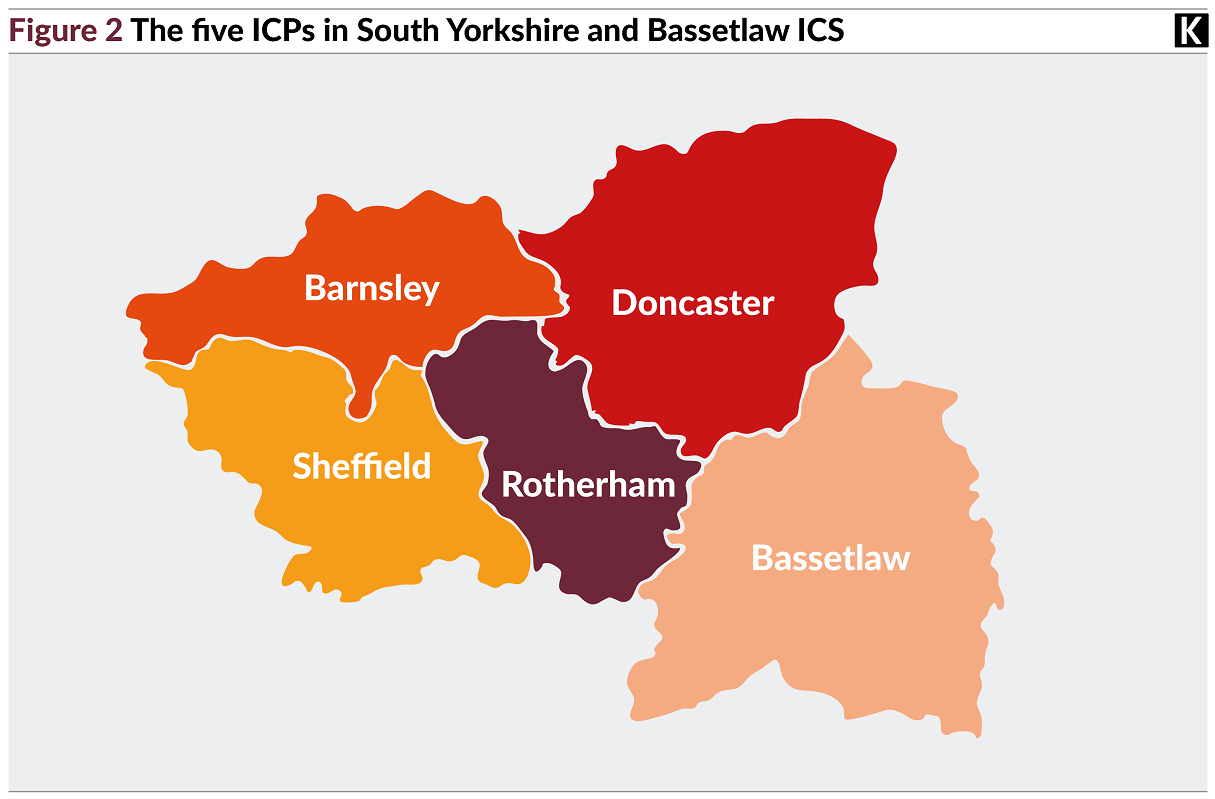 Map showing the five ICPs in South Yorkshire and Bassetlaw ICS