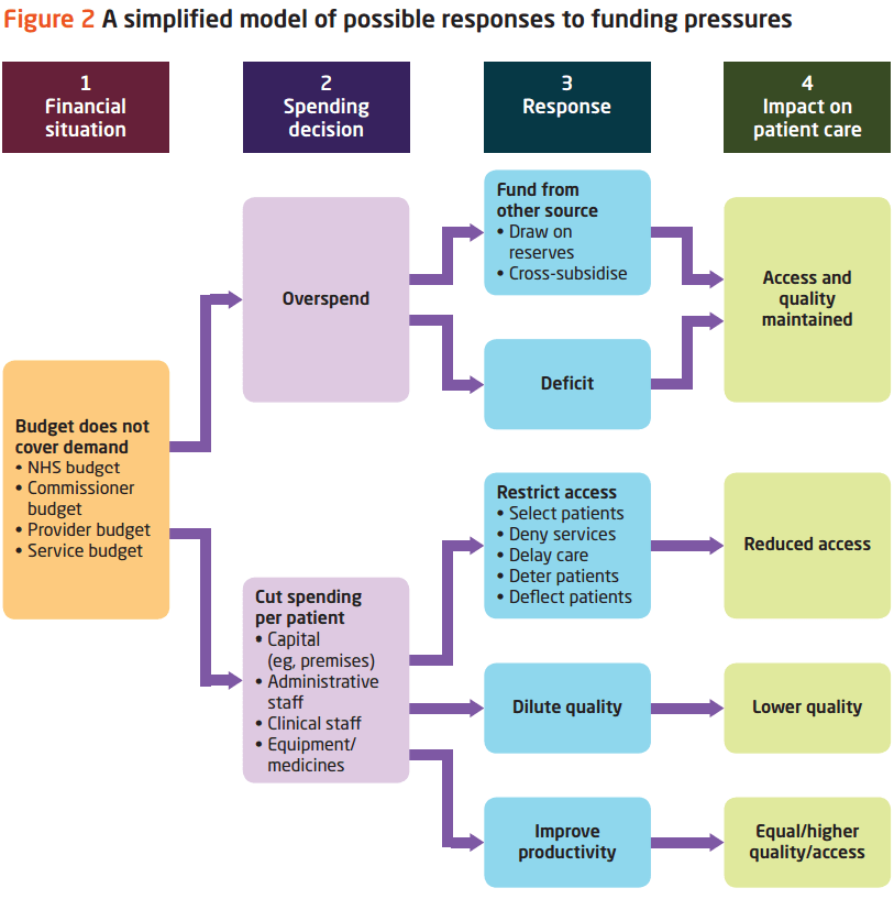 Figure 2: A simplified model of possible responses to funding pressures