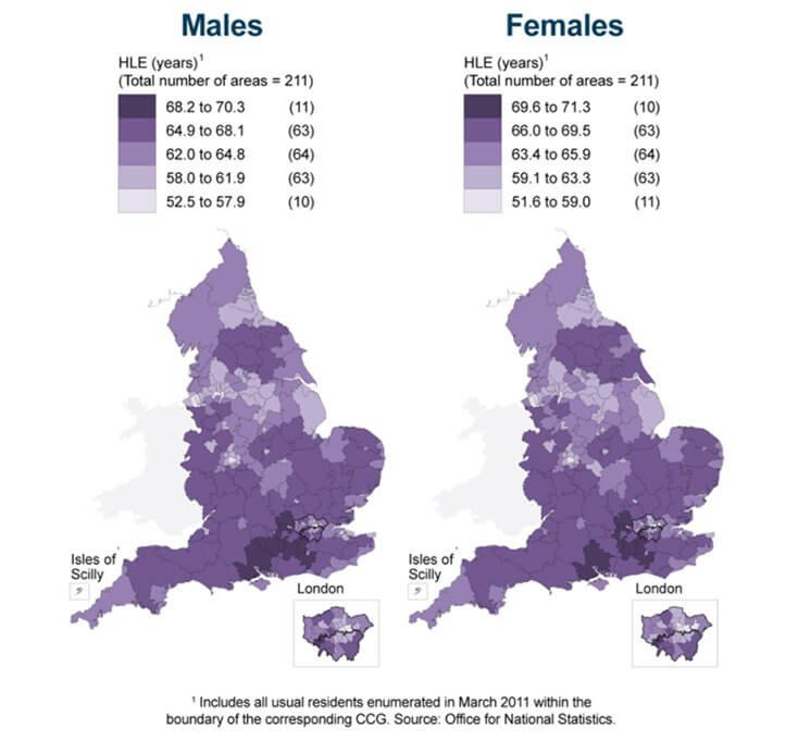 Healthy Life Expectancy (HLE) at birth for NHS Clinical Commissioning Groups (CCGs), England, 2010-12
