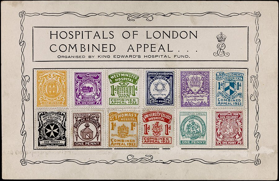 Series of postage stamps produced by The King's Fund as part of 'The Hospitals of London Combined Appeal'