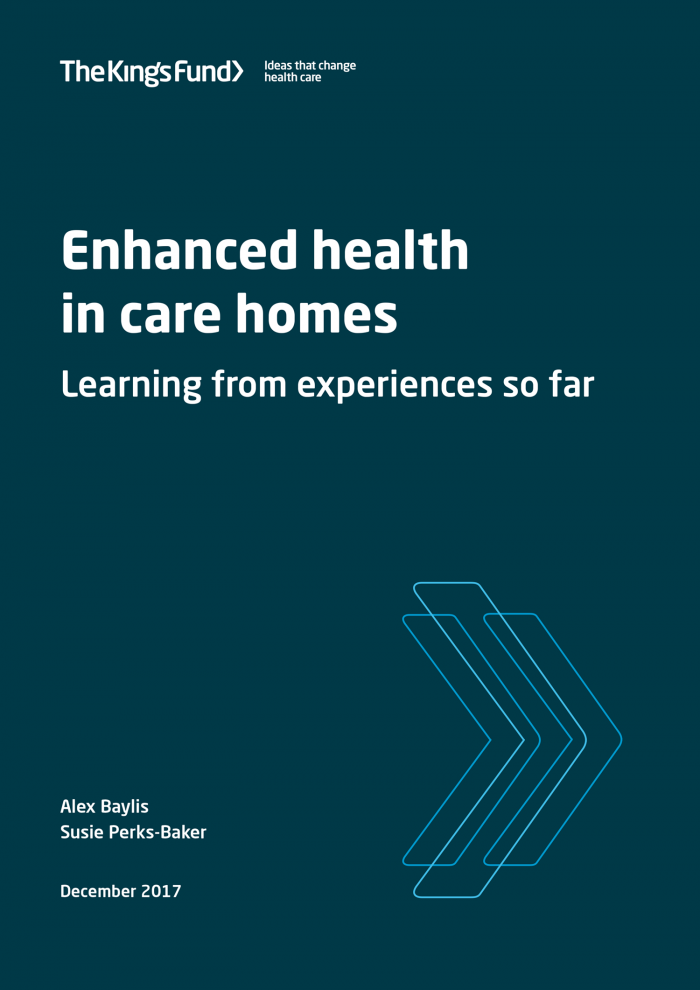 Front cove image of enhance health in care homes report