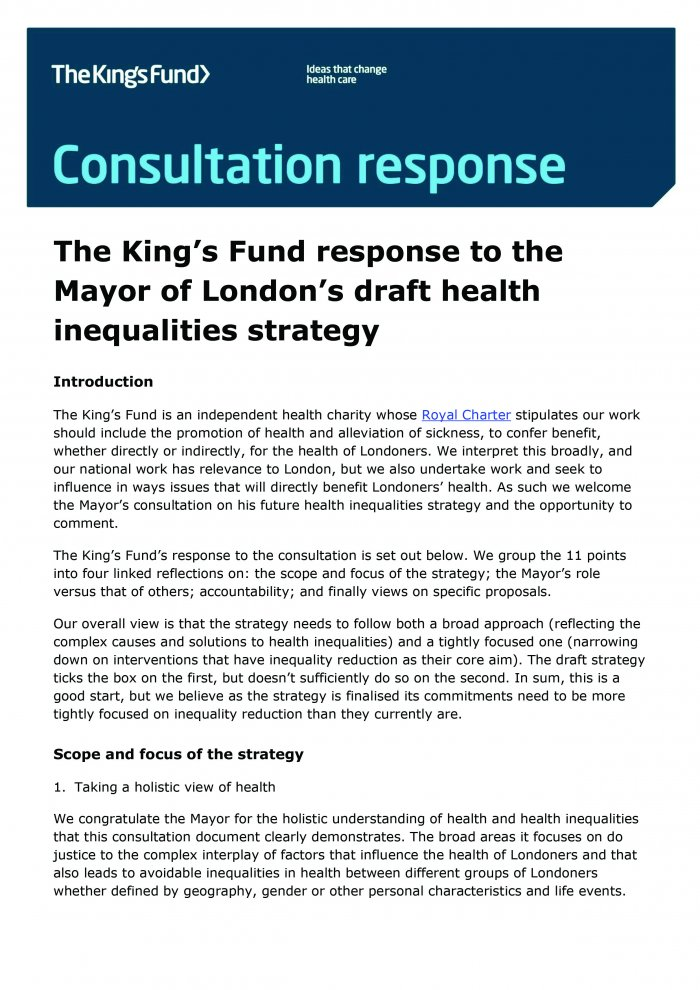 The King's Fund response to the Mayor of London's draft health inequalities strategy front cover