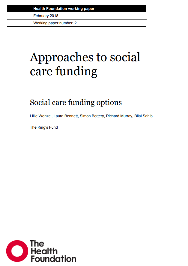 Funding social care report cover