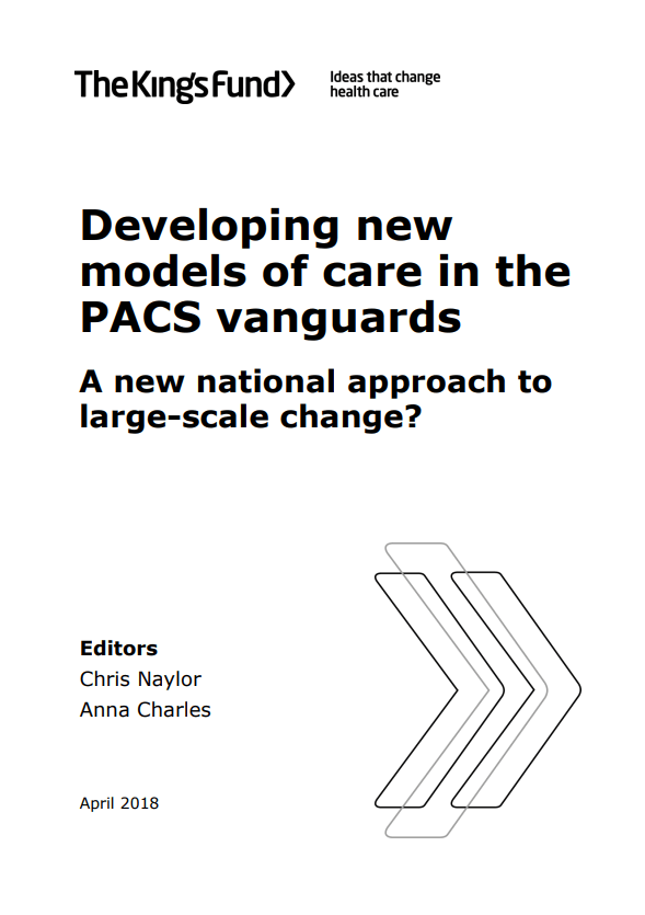 Developing new models of care in the PACS vanguards