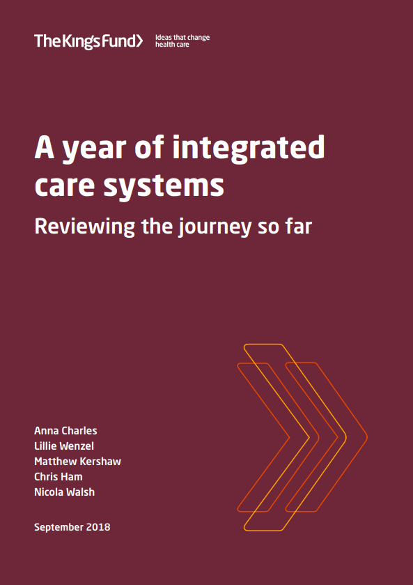 A year of integrated care systems: reviewing the journey so far (report cover)