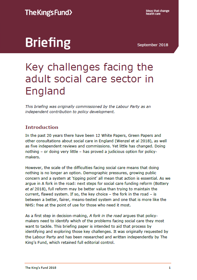 Key challenges facing the adult social care sector in ...