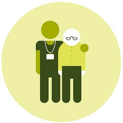 Older person with health care assistant
