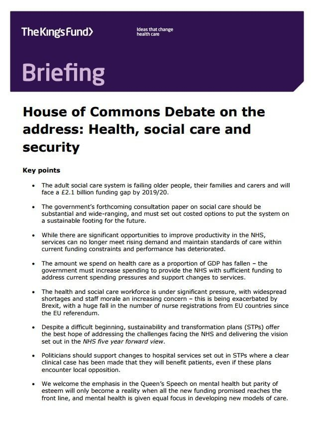 briefing house of commons debate on the address health social