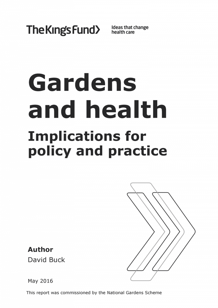Gardens and health front cover