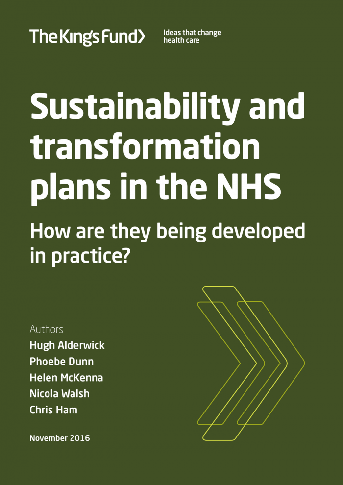 Sustainability and transformation plans in the NHS report front cover