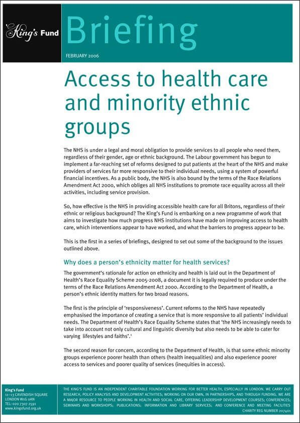 Access to health care and minority ethnic groups | The