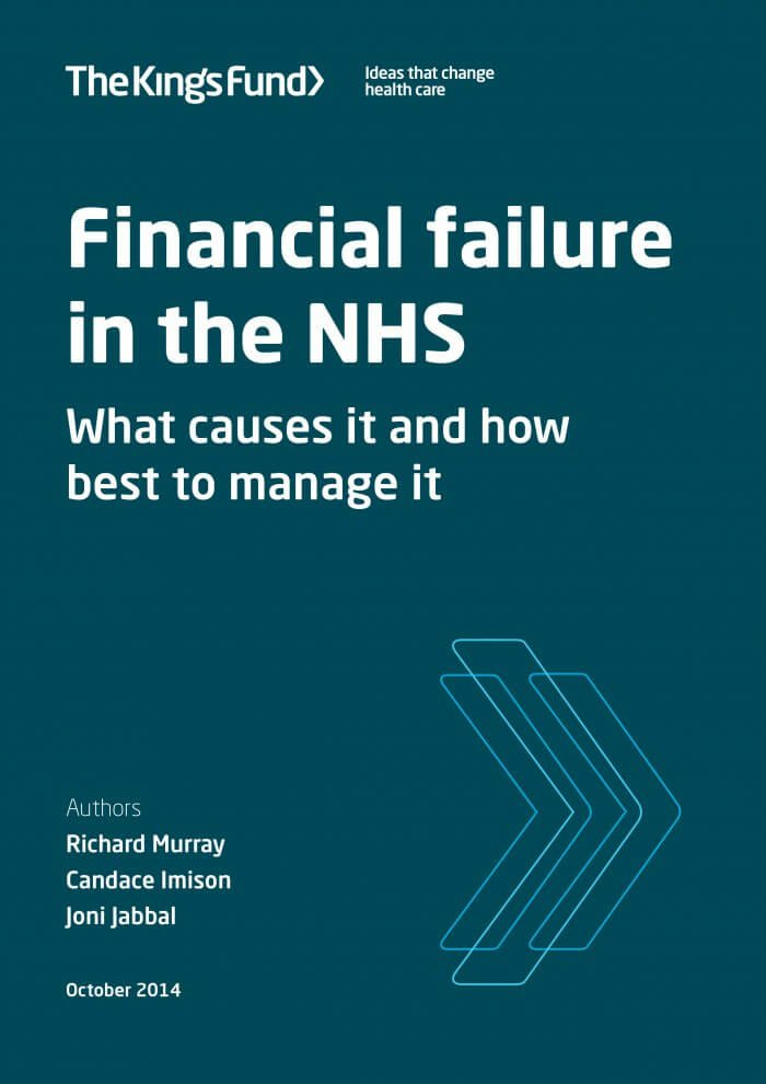 Financial failure in the NHS front cover