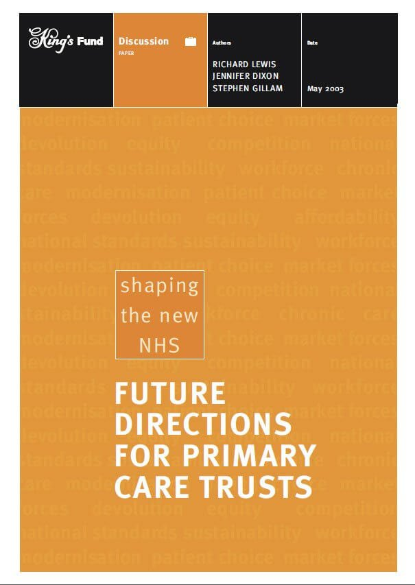 Future directions for primary care trusts front cover