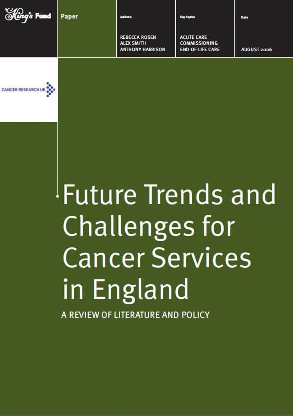 Future trends and challenges for cancer services front cover