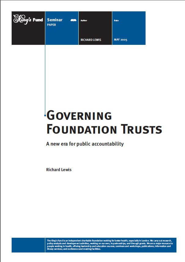 Governing foundation trusts front cover