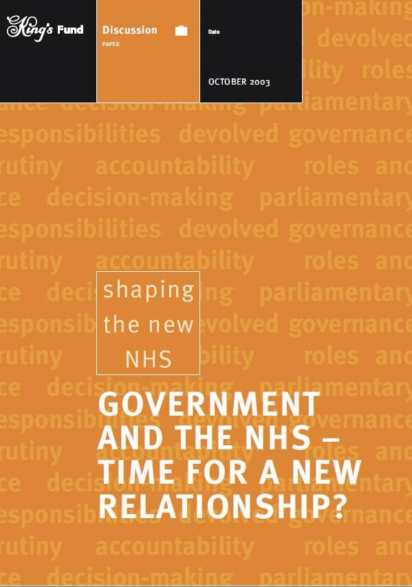 Government and the NHS front cover