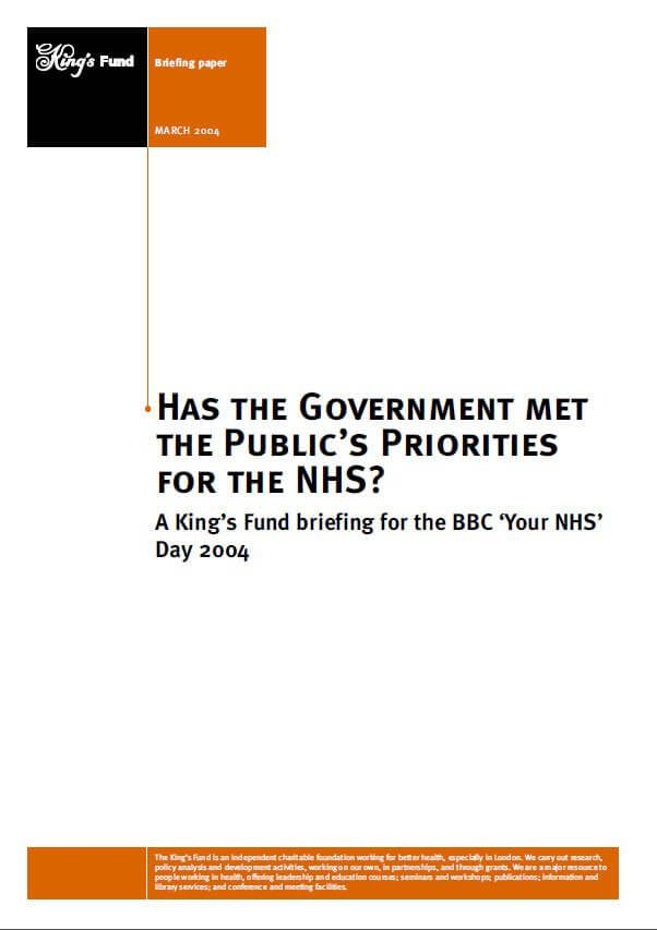 Has the government met the public's priorities for the NHS front cover