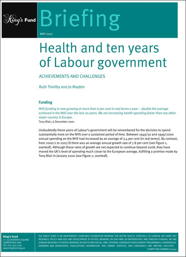 Health and ten years of Labour government front cover
