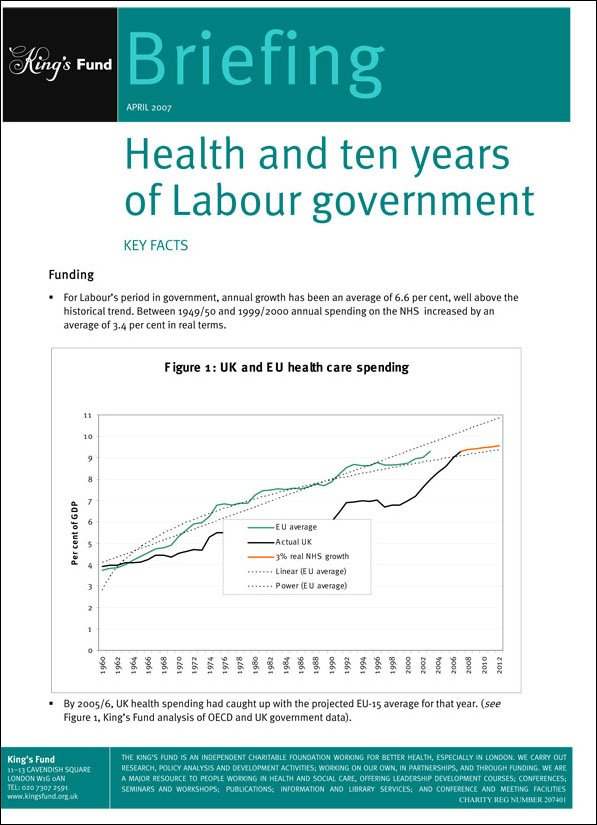 Health and ten years of Labour government key facts front cover