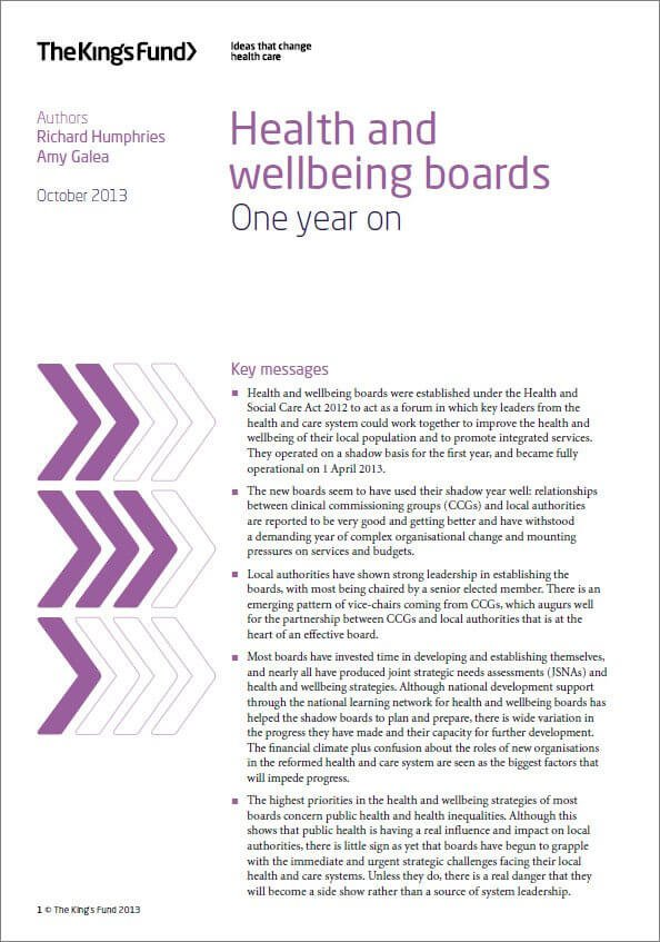 Health and wellbeing boards: One year on report front cover