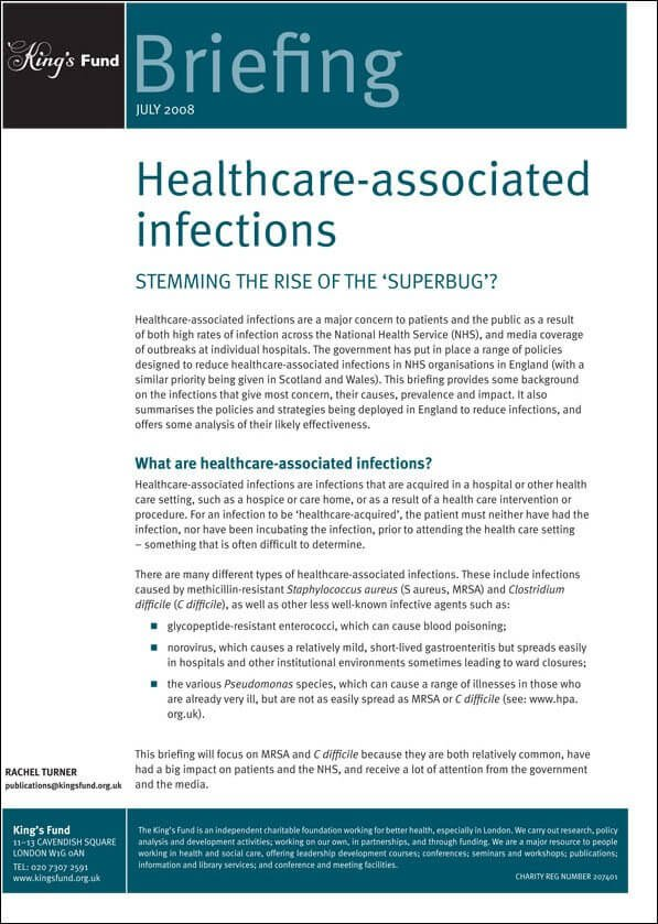Healthcare associated infections report front cover