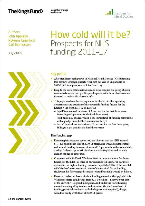 Prospects for NHS funding report front cover
