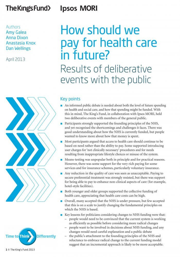 How should we pay for health care in future front cover
