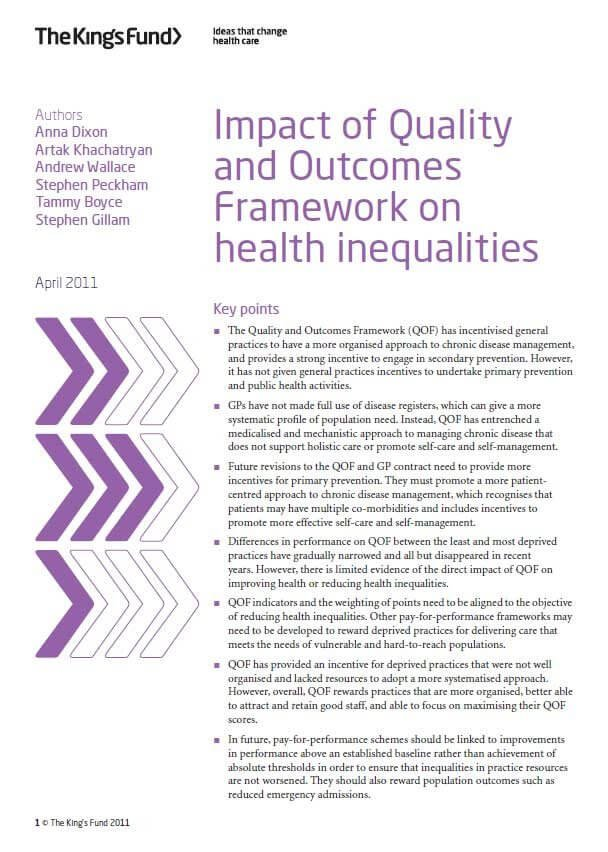 Impact of quality and outcomes framework in health inequalities