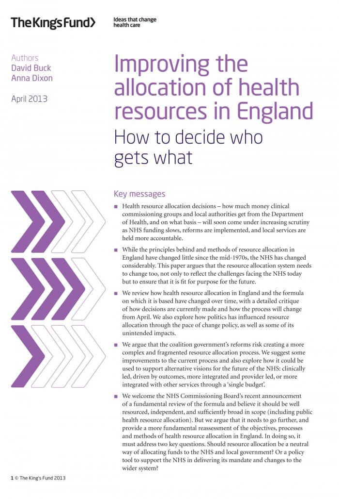 Improving the allocation of health resources in England front cover