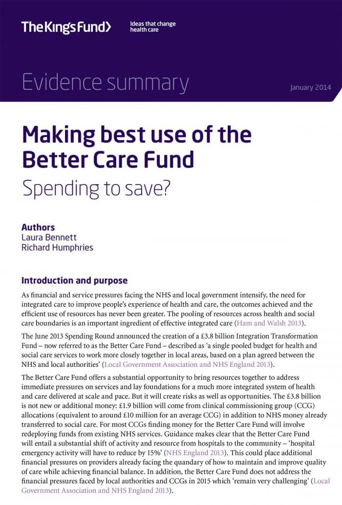 Making best use of the Better Care Fund front cover