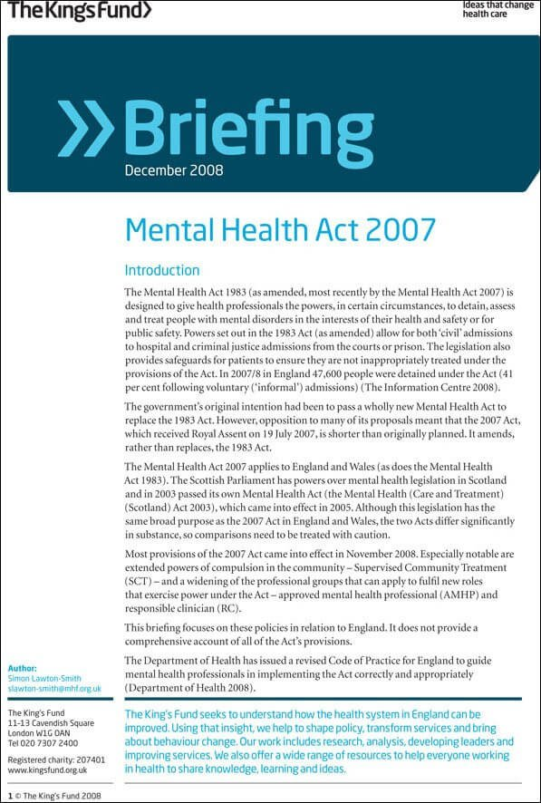 Briefing: Mental Health Act 2007 | The King's Fund