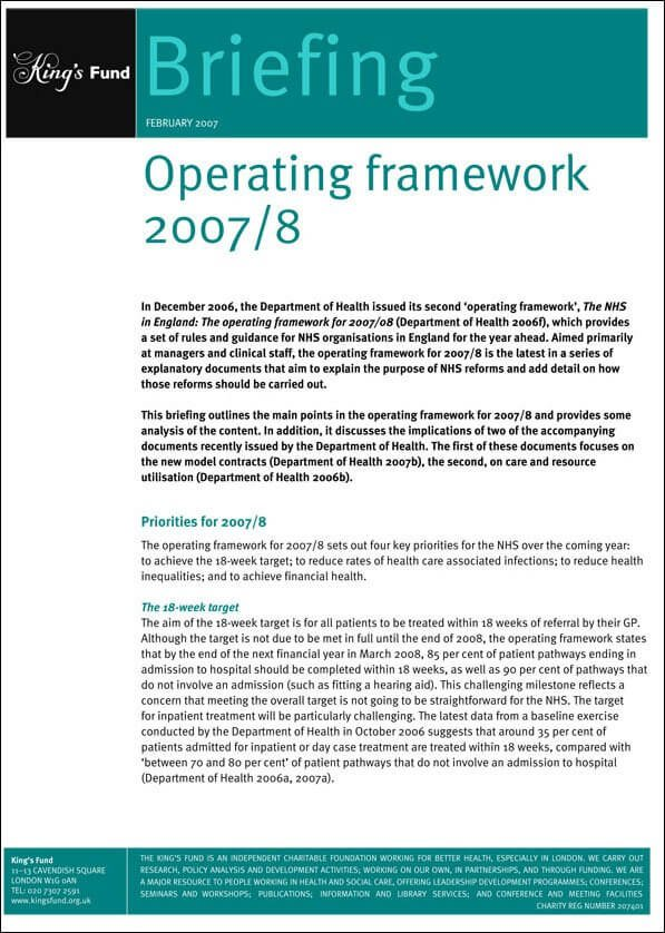 Operating framework cover