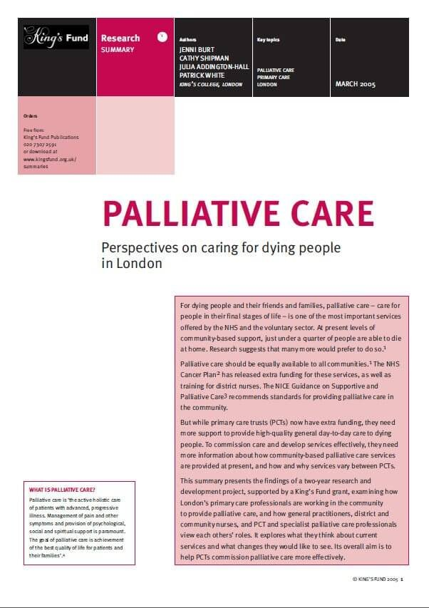 Palliative care London research summary