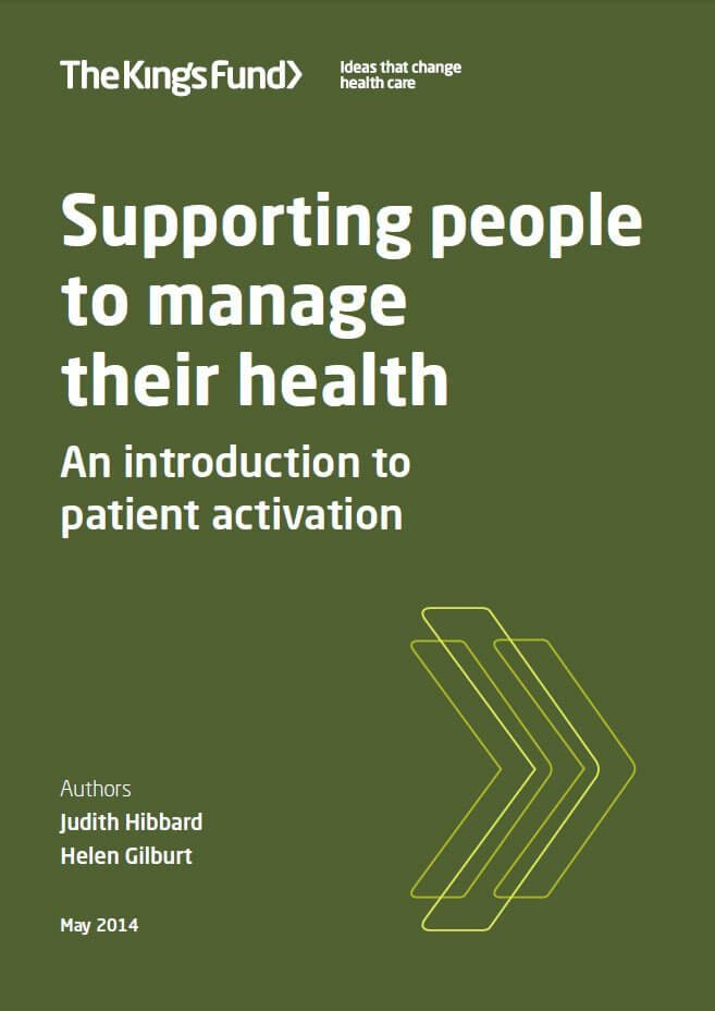 Supporting people to manage their health front cover