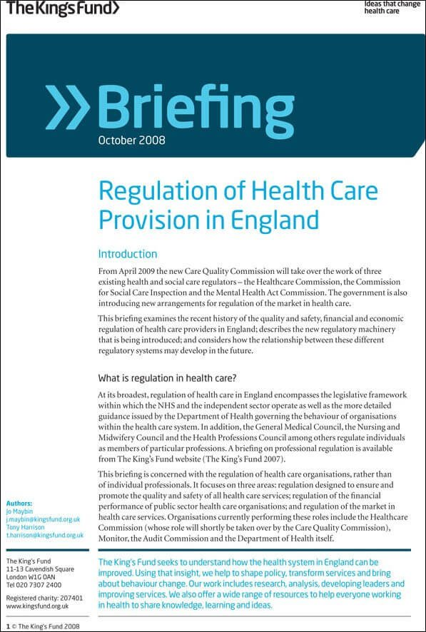 Regulation of Health Care Provision in England | The King's Fund