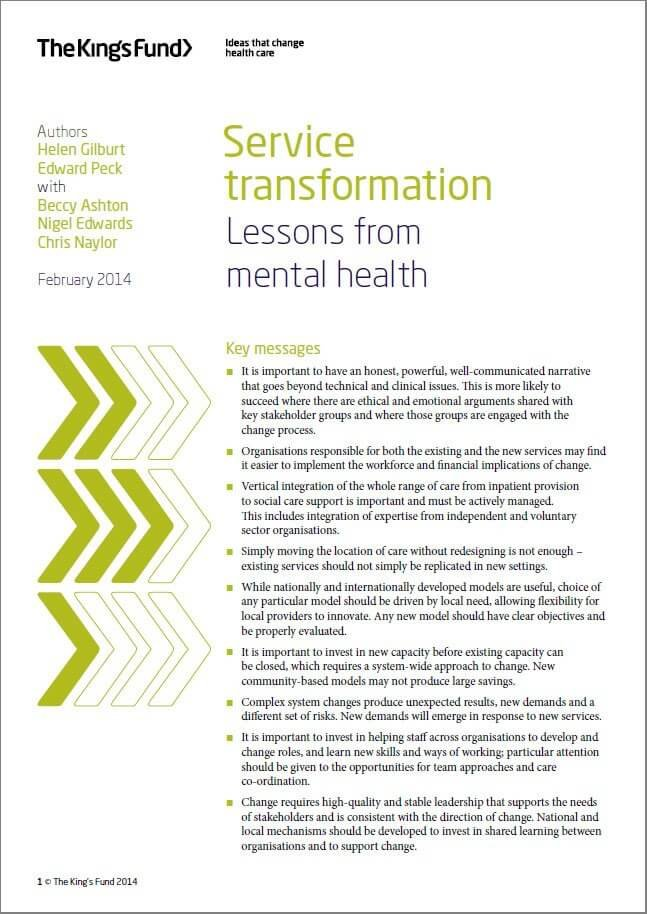 Service transformation: Lessons from mental health front cover