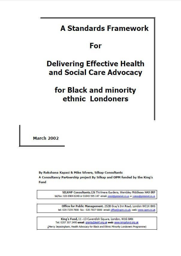 Standards framework for delivering effective health and social care advocacy for black and minority ethnic Londoners front cover