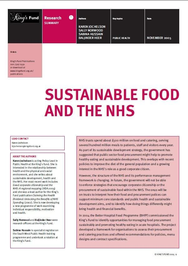 Sustainable food and the NHS report front cover