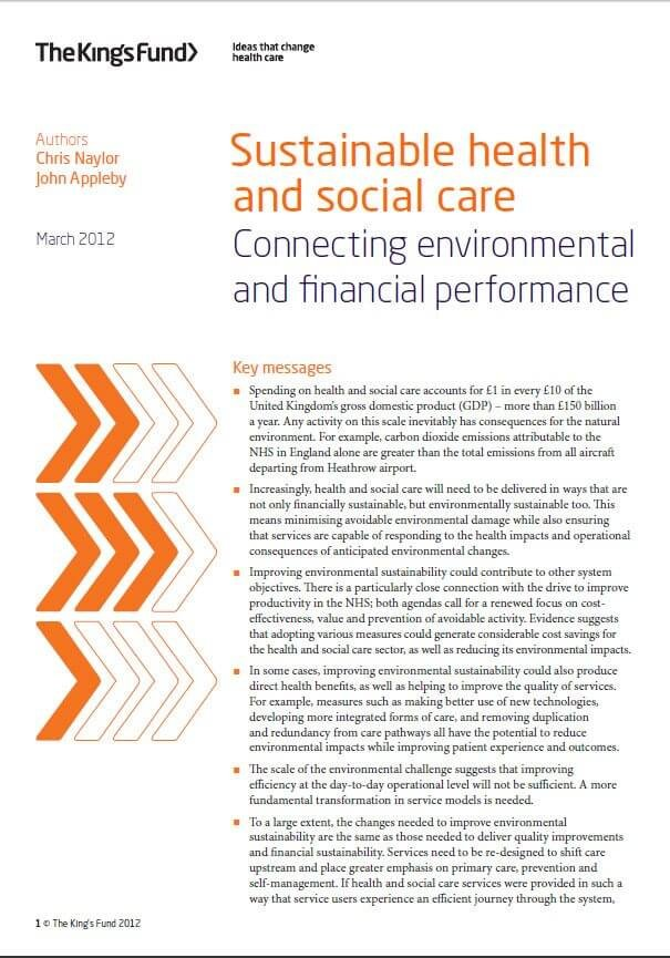 Sustainable health and social care report