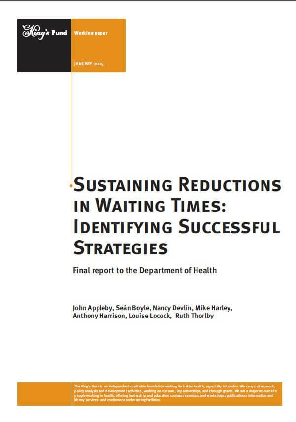 Sustaining reductions in waiting times report front cover