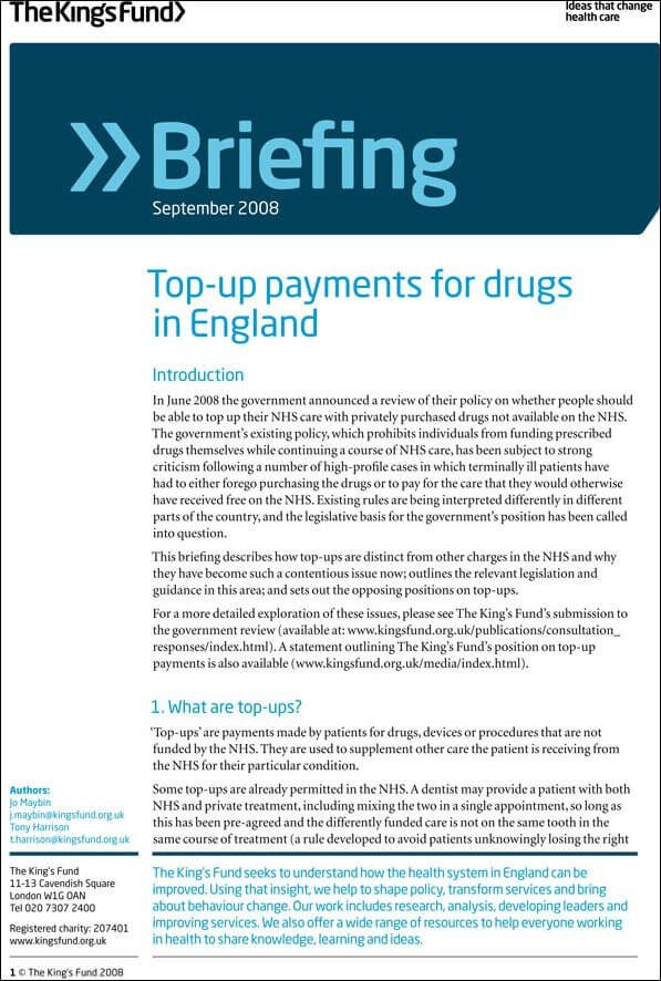 Top-up payments for drugs in England report front cover